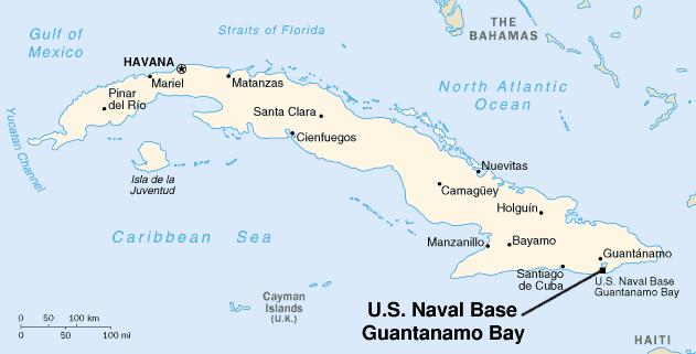 Карта Базы гуантанамо на Кубе