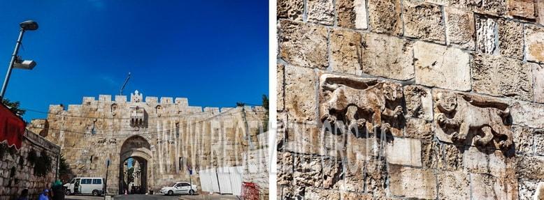 Знаменитый Львиные ворота Иерусалима