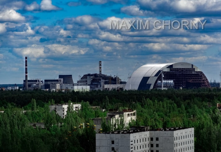 Roof panorama at the Chernobyl Nuclear Power Plant, taken in 2015