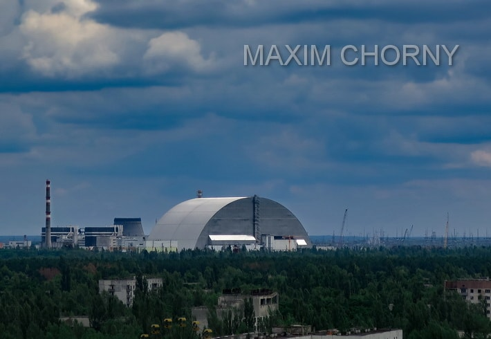 Roof panorama at the Chernobyl Nuclear Power Plant, taken in 2017