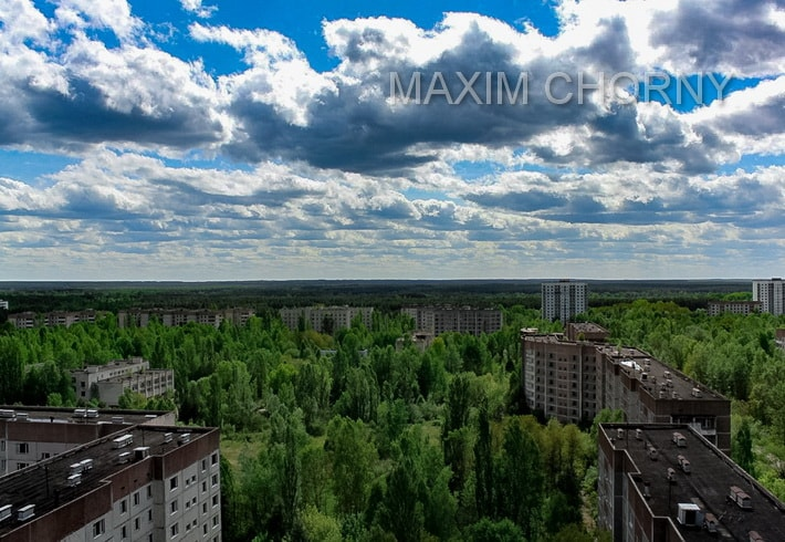 Roof panorama at Pripyat city district