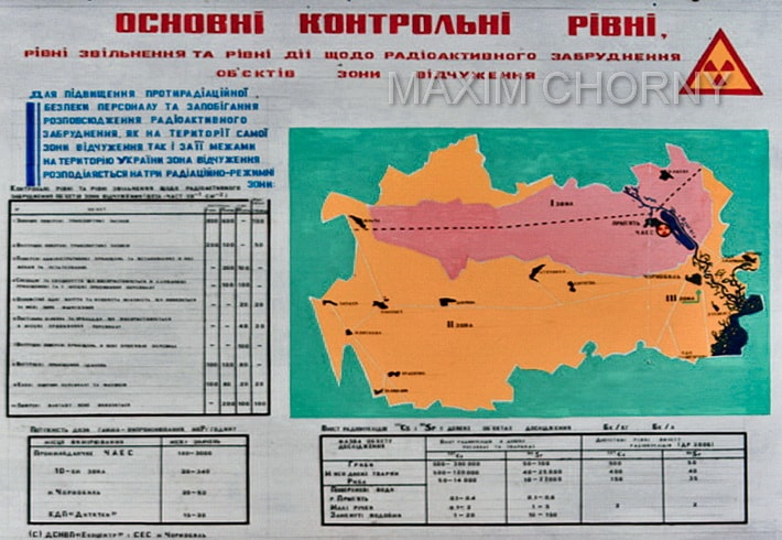 Chernobyl Radiation Map with marked zones of radiation exposure