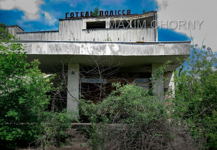 Main entrance to the Polissya hotel in Pripyat
