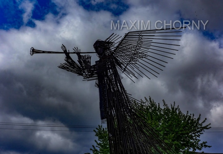 'Trumpeting Angel' sculpture in the center of Chernobyl city