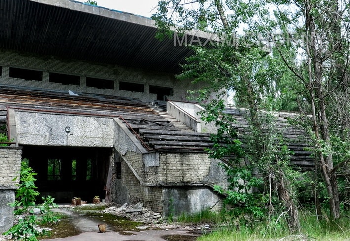 Abandoned and half-ruined football tribunes