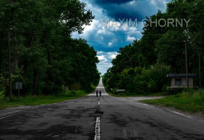 Former interstate near the Chernobyl city sign