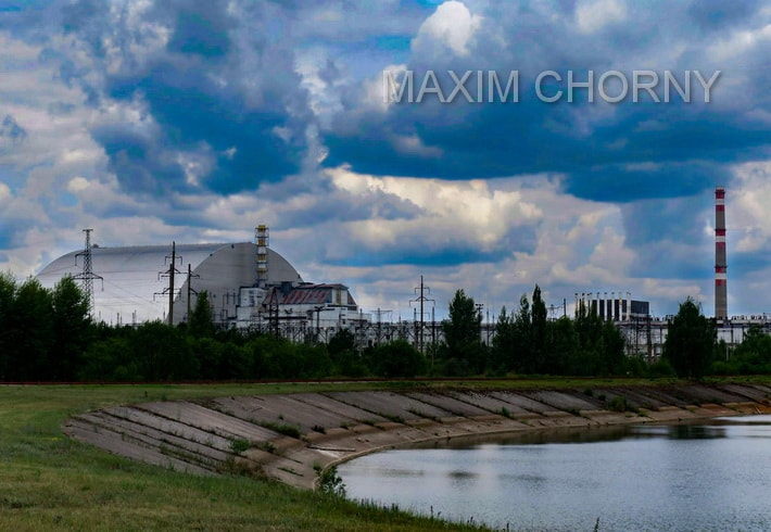Road panorama on the Chernobyl Nuclear Power Plant in 2017