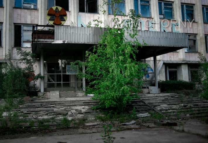 Main entrance to the Former Pripyat City Administration