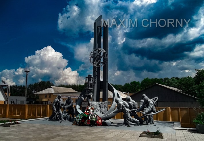 Chernobyl Fire Station Memorial on the road