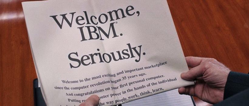 """Welcome, IBM. Seriously."" (Добро пожаловать, IBM. Серьезно)"