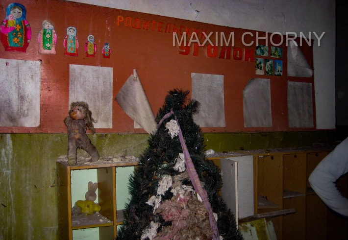 Welkoming stand in the hall of a former kinder-garden in Kopachi