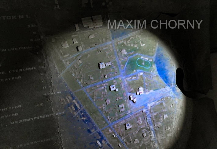 City map of Pripyat on the floor of former Pripyat police station