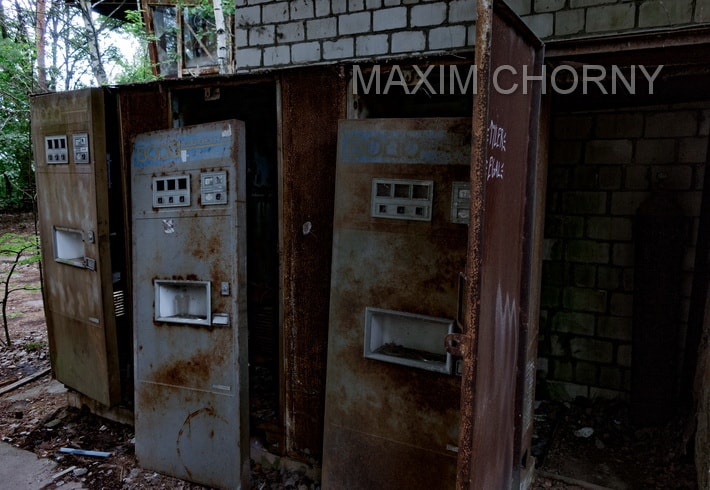 Sparkling water machine near the Pripyat River Station