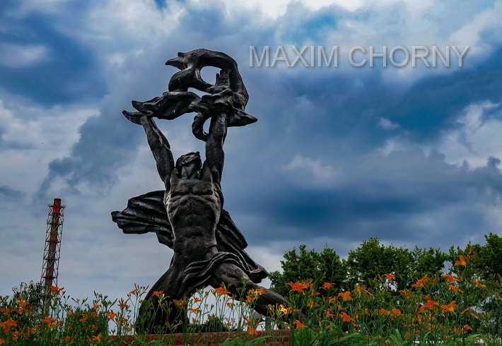 """Prometheus statue"" near the Chernobyl Nuclear Power Plant - former symbol of Pripyat"