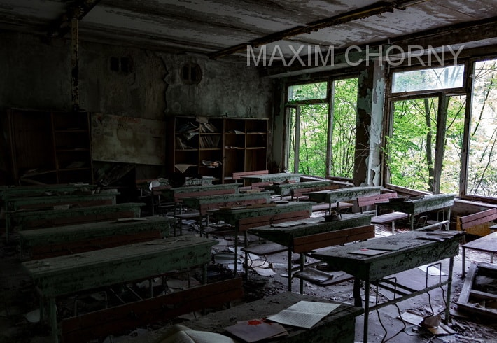 Abandoned school class in former School № 2 in the city of Pripyat