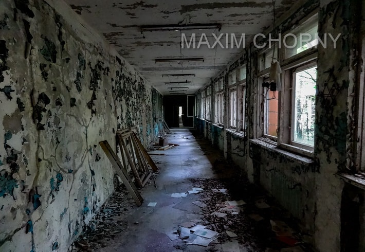 Empty hall with almost dead silence on the first floor of School № 3 in Pripyat