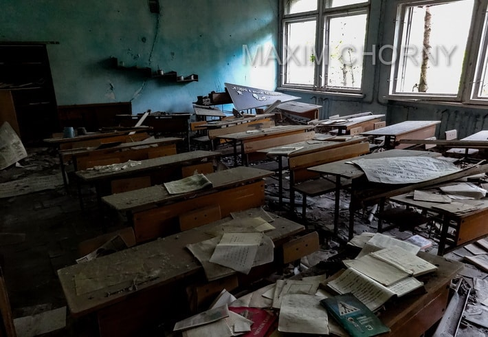 Pripyat today - former school class in the center of a city