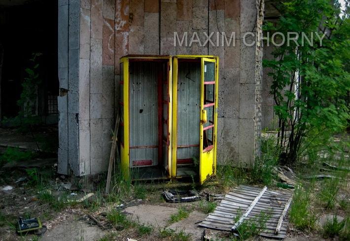 Chernobyl today - former phone-box in Pripyat