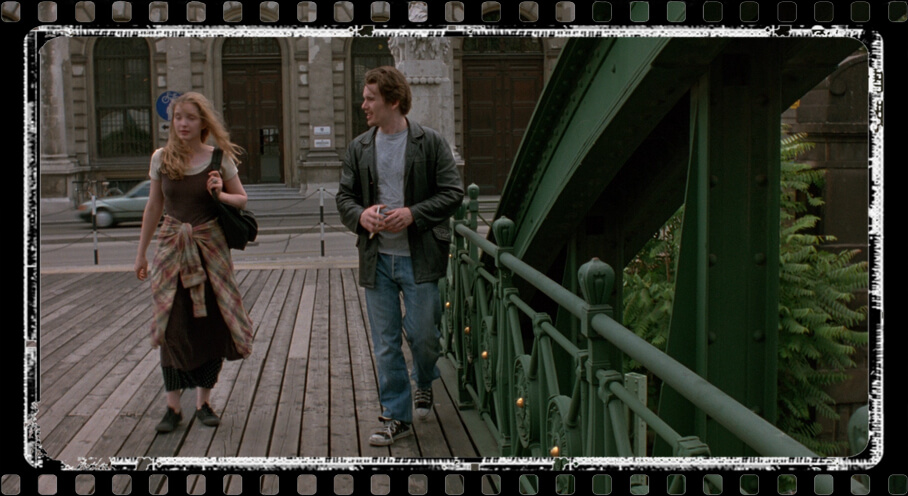 Jesse (Ethan Hawke) and Celine (Julie Delpy) Zollamtbrucke bridge