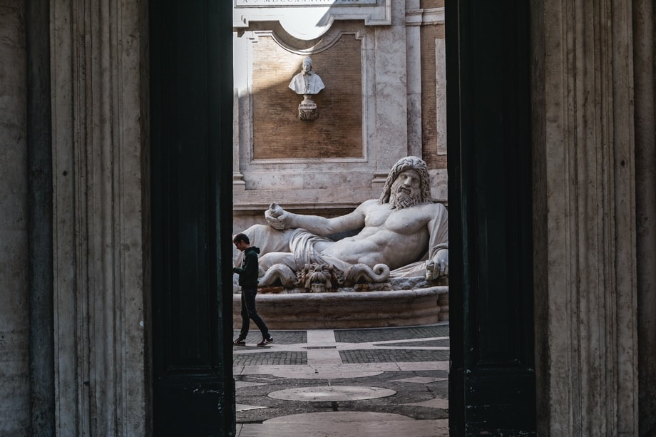 National Lampoon Rome filming locations. Marforio statue